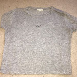 Pacsun gray cropped USA tee